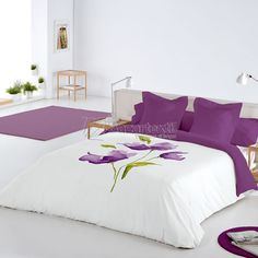 This Pin was discovered by jac Bed Sets, Home Bedroom, Bedroom Decor, Sheet Curtains, Bed Cover Design, Designer Bed Sheets, Purple Bedrooms, Sofa Covers, Beautiful Bedrooms