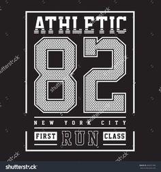 Athletic sport typography, t-shirt graphics, vectors