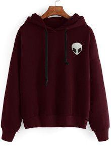 Burgundy Alien Print Hooded Sweatshirt