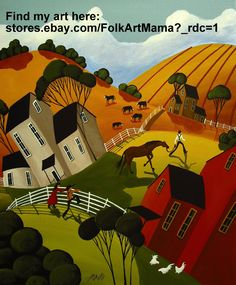 """""""Jimmy Jack"""" country folk art primitive abstract cows folkartmama Debbie Criswell painting chicken farm animals hills houses clouds rural naive"""