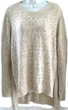 Express Crew Neck Slub Sweater Knit High Slit Pullover Long Sleeves Size Large L #Express #Pullover #Casual