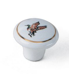 Laurey Cabinet Knobs, 1 1/2″ Ceramic Knob - White with Duck