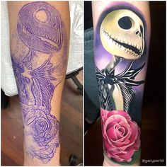 Some Jack Skellington action, done in about one shot! Had a lot of fun with this piece! Jack Skeleton Tattoo, Jack Tattoo, Tattoo You, Nightmare Before Christmas Wallpaper, Nightmare Before Christmas Tattoo, Tattoo Sketches, Tattoo Drawings, Pencil Drawings, Love Tattoos