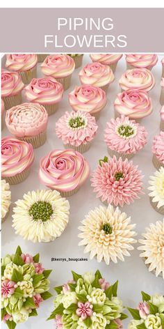Cupcake Decorating Tips, Cake Decorating Piping, Cake Decorating Techniques, Cookie Decorating, Fancy Cupcakes, Floral Cupcakes, Floral Cake, Cupcake Piping, Buttercream Cupcakes