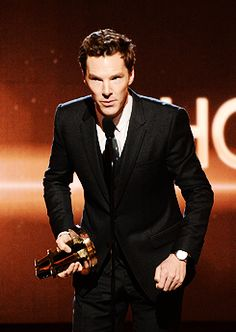 """Honoree Benedict Cumberbatch accepts the Hollywood Actor Award for 'The Imitation Game' onstage during the 18th Annual Hollywood Film Awards at The Palladium on November 14, 2014 in Hollywood,..."