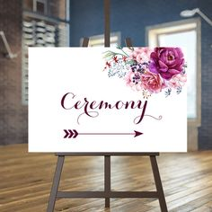 Printable Wedding Ceremony sign Floral by instanttrends on Etsy