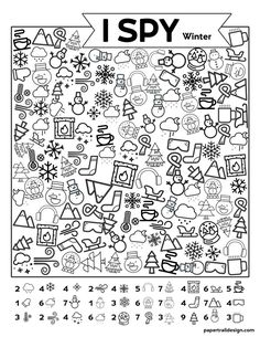 Free Printable I Spy Winter Activity - Paper Trail Design - Christina Sparkman - art therapy activities New Years Activities, Beach Activities, Art Therapy Activities, Winter Activities, Activities For Kids, New Year's Games, I Spy Games, Games For Kids, Trip Games