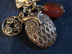 NIB~Lucky Brand JLRU6631~Gold~Carnelian Stone Flower Charm Crystal Owl Necklace