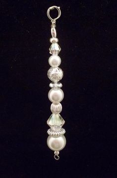 Icicle Ornament - White Pearl and Silver Filigree - Christmas Ornament - Beaded…
