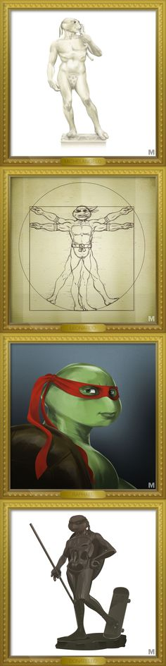 This is what it would look like if the Teenage Mutant Ninja Turtles were designed by their Renaissance counter parts.