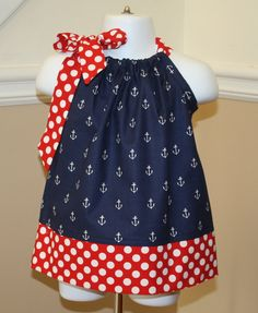 anchors away pillowcase dress blue white red by BrantleyHudson