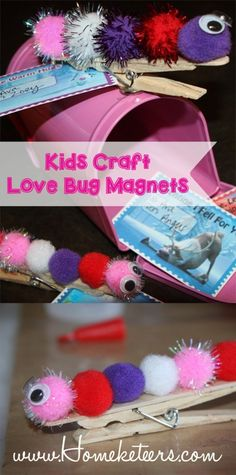 Love Bug Magnets DIY Valentine's Day Kids & Toddlers Craft – Valentine's Day Valentine's Day Crafts For Kids, Valentine Crafts For Kids, Valentines Day Activities, Toddler Crafts, Holiday Crafts, Diy Valentine, Saint Valentine, Kinder Valentines, Valentines Day Party