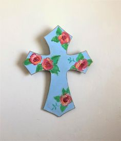 Religious gift for mom mothers day gift, large wall cross ,boho shabby floral hand painted cross, Christian gift, blue flowers crucifix Shabby Chic Wall Decor, Bohemian Decor, Boho, Hand Painted Crosses, Wall Crosses, Votive Candle Holders, Votive Candles, Pretty Roses, Cross Paintings