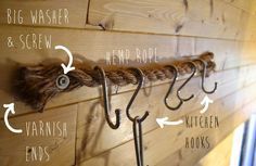 kitchen-hooks-rope  I like using varnish on ends (or whatever else that would make ends bond) - nice and natural looking