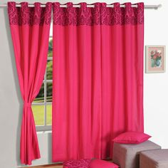 Swayam Magenta Cotton 60 x 54 Inch Solid Plain Eyelet Window Curtain French Door Curtains, Window Curtains, Bedding Sets Online, Comforter Sets, Curtain Accessories, Printed Curtains, Bedding Websites, Home Decor Online, Room Set