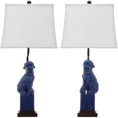 Safavieh Lighting 28-inch Navy Foo Dog Table Lamp (Set of 2)