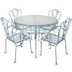 1stdibs | Vintage Salterini Wrought Iron Table and Chairs in Powder Blue