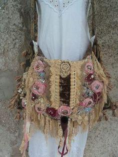 Large Handmade Boho Carpet Bag Shabby Chic Cross Body Fringe Purse Gypsy tmyers #Handmade #MessengerCrossBody