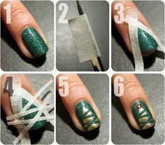 With just a little tape, you've got an easy Christmas manicure.