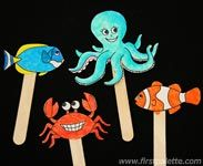 Printable animal stick puppets (colour or BW) Sea Crafts, Fish Crafts, Summer Crafts, Crafts For Kids, Craft Kids, Puppet Crafts, Under The Sea Theme, Ocean Themes, Classroom Themes