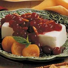 Appetizer Spread Cranberry Sauce over Cream Cheese - Award winning. (Taste of Home)