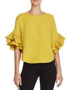 Gracia Tiered Ruffle Sleeve Top - Compare at $86 Ruffle Top, Ruffle Sleeve, Ruffle Blouse, 60 Fashion, Fashion Wear, Womens Fashion, Blouses For Women, Ladies Blouses, Comfortable Outfits