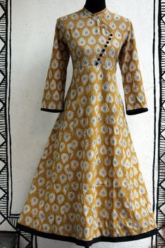 anarkali - cross button & yellow leaf