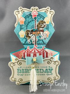 Carousel Birthday, Hexagonal Base Pop-Up Card, Bronwyn Eastley, Independent Stampin' Up! Demonstrator, AUSTRALIA, #addinktivedesigns