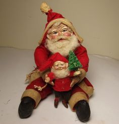 Handmade Tiny Little Sitting Santa Claus & Elf By Kim Sweet~Kim's Klaus~Ooak Vintage Antique Christmas Folk Art Dolls