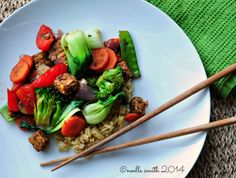 Vegetable Stir Fry with Marinated Tempeh gluten-free, nut free, refined sugar-free, dairy free Nut Free, Dairy Free, Gluten Free, Vegetable Stir Fry, Soul Food, Tempeh Recipe, Fries, Beef, Sin Gluten