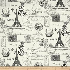 Purchased for master suite bathroom window treatment  Premier Prints French Stamp Twill Grey