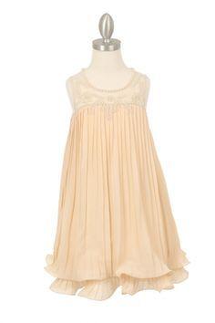 Champagne Pleaded Illusion Neckline with Pearls Flower Girl Dress CC-9005-CM on www.GirlsDressLine.Com