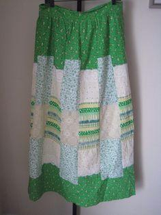 vintage M/L 60s 70s MOD MAXI SKIRT patchwork floral lace HIPPIE BoHo Pop Art #ReneeofCalifornia #Casual