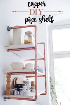 Step by step DIY copper pipe shelf tutorial