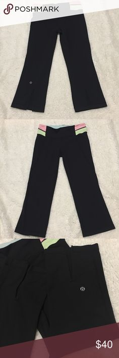 Lululemon Gather and Crow Crops Lululemon Gather and Crow Crop leggings. Pink and Light Green/Yellow Waistband. No stains, no tears, no holes. lululemon athletica Pants Ankle & Cropped