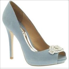 If these shoes had rounded toes, they would be perfect. I want blue shoes to wear with my wedding dress :)