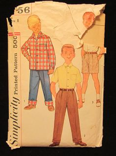 Items similar to -Vintage Simplicity Pattern Boys Shirt and Pants in two lengths- Size 8 on Etsy Simplicity Patterns, Vintage Sewing Patterns, 1960s, Prints, Primitive Patterns, Sixties Fashion