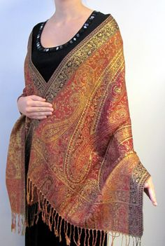 Dark Red & Gold Shiny Shawl Extreme Beauty - this is beautiful unique and artsy for your evening dress and gown.