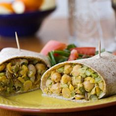 Chickpea Salad Wrap: Angela at Oh She Glows created these beautiful, vegan-friendly chickpea salad wraps that are fresh, crunchy, and just under 400 calories per serving.