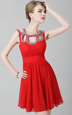 Gorgeous Rhinestoned Scoop Neck Openwork Lace Embroidery Women's Mini Chiffon Cocktail Dress