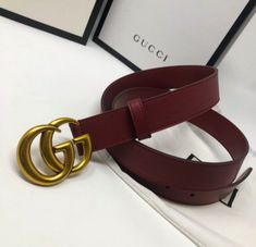 862bf7b5a Extra Off Coupon So Cheap Mens Authentic Dark Red Leather Gucci Belt With  Interlocking Gold Gucci Buckle