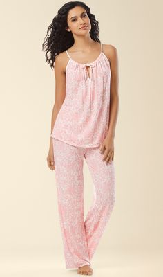 Midnight by Carole Hochman Pajama Set in Island Life Pink Print. Set your sights on a dreamland destination in ultimate comfort. Two piece pajama set in a lovely pastel hue and touches of satin. Cute Pjs, Cute Pajamas, Hijab Fashion, Fashion Beauty, Fashion Dresses, Night Suit, Night Gown, Sleepwear & Loungewear, Nightwear