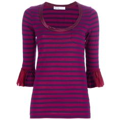 SACAI LUCK Striped Top ($165) ❤ liked on Polyvore