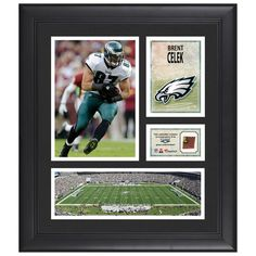 """Brent Celek Philadelphia Eagles Fanatics Authentic Framed 15"""" x 17"""" Collage with Piece of Game-Used Football"""