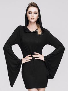 b25e672fc9ea Robe moulante noire avec manches evasees et capuche, sorciere occulte    JAPAN ATTITUDE - DEVFA0058