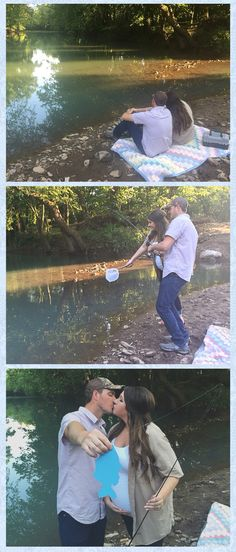 Our gender reveal photo! Fishing gender reveal! It's a boy!