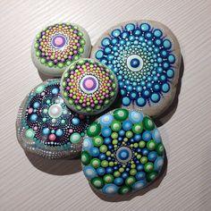 Dot Art Mandala Painted Stone Fairy Garden by CreateAndCherish