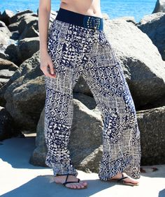 Look at this La Moda Clothing Navy Tribal Palazzo Pants on #zulily today!