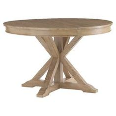 """Gather friends and family for a delectable Sunday brunch or celebratory supper with this dining essential, a stylish find for your well-appointed dining room.   Product: Dining tableConstruction Material: Elm veneersColor: Sandy brown Features: 24"""" Leaf includedDimensions: 72"""" W (with leaf)"""
