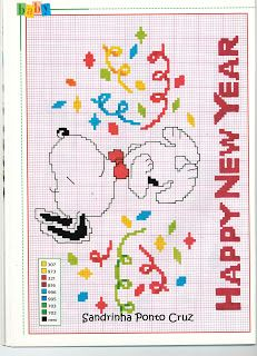 Snoopy cross stitch Happy New Year